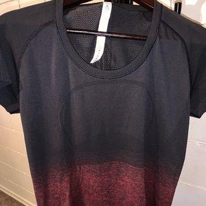Size 12 Lululemon Black/Red Short Sleeve Crew